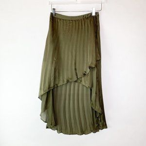 Line & Dot High Low Pleated Olive Skirt